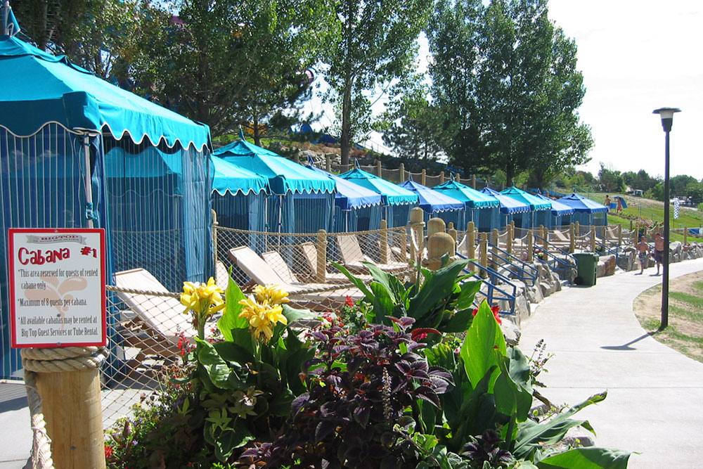 View of the Big Top Cabana area