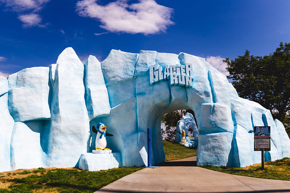 Glacier Run attraction entrance, penguin themed attraction, Water World