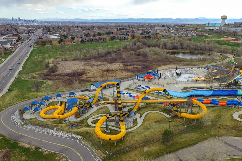 Aerial view of Mile High Flyer attraction, Water World