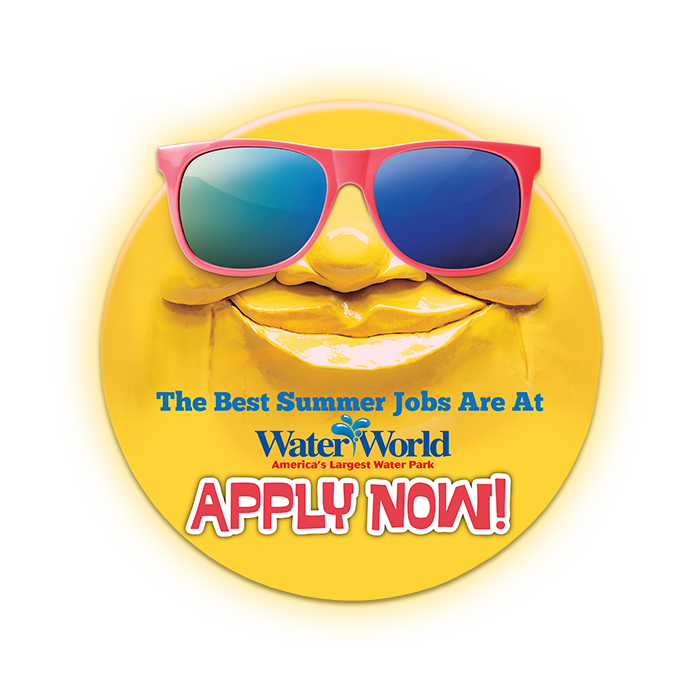 Water World sun face logo, Summer Jobs, Apply button