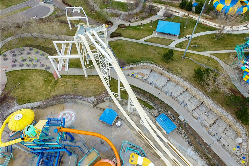 Aerial view of Speed Slide attraction, Water World