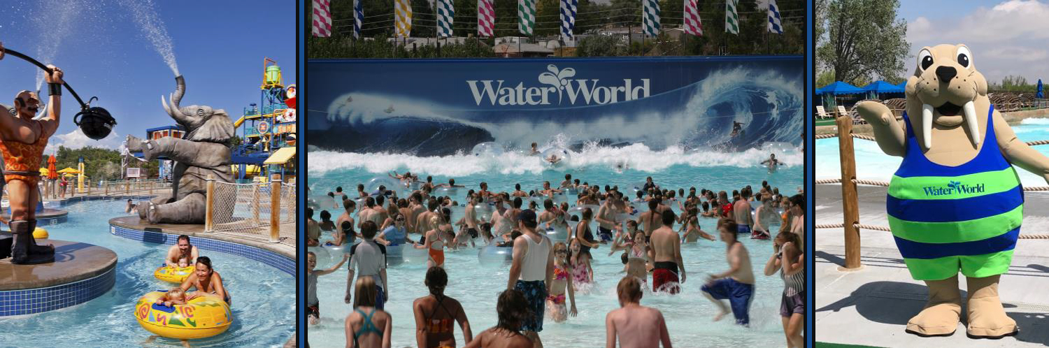 Crowd at Water World Park and Water World Mascot