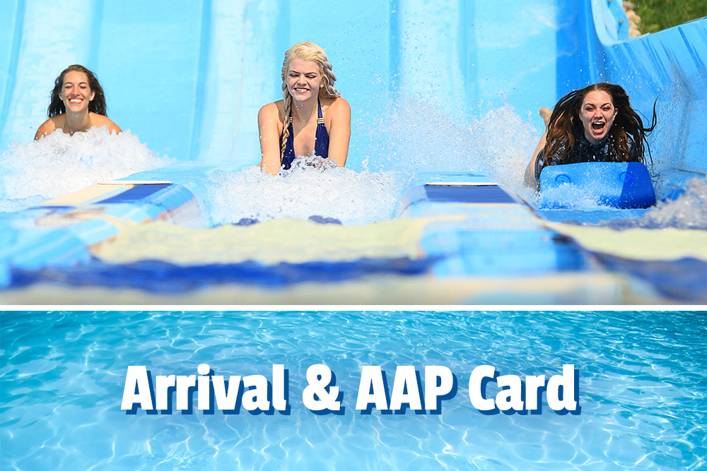 Arrivals and AAP Card, 3 girls sliding on a water attraction