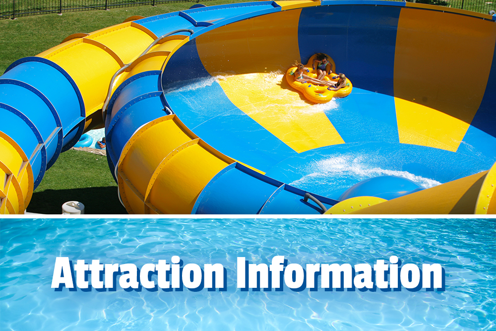 Attraction Information, 3 girls sliding on a water attraction