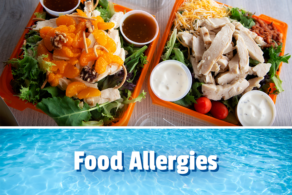 Food allergies, salad with chicken and sauces
