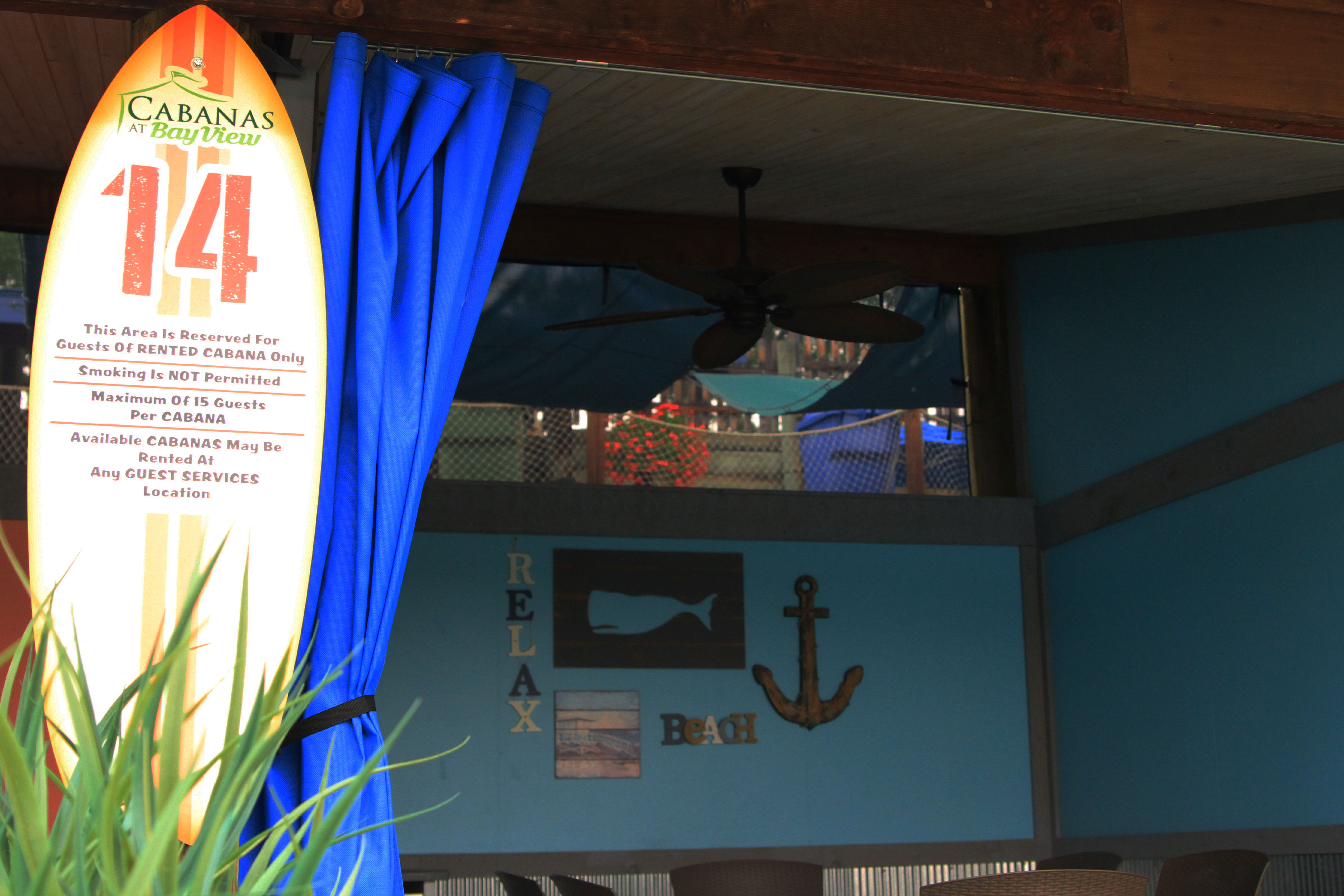 Inside view of a Cabana at Bay View with ceiling fan