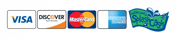 Accepted credit cards, visa, discover network, mastercard, american express, water world splash pass
