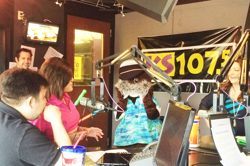 Radio station studio interview with Water World mascot Wally